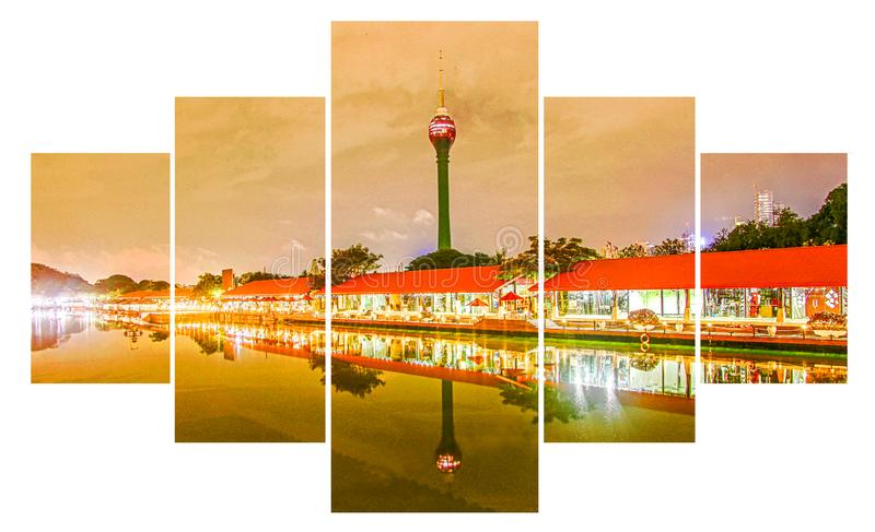 Sri lankan Colombo Lotus Tower Nelum Kuluna. At 350m, the nearly complete tower looms over St Joseph's College, Colombo City, and in fact all of South royalty free stock photo