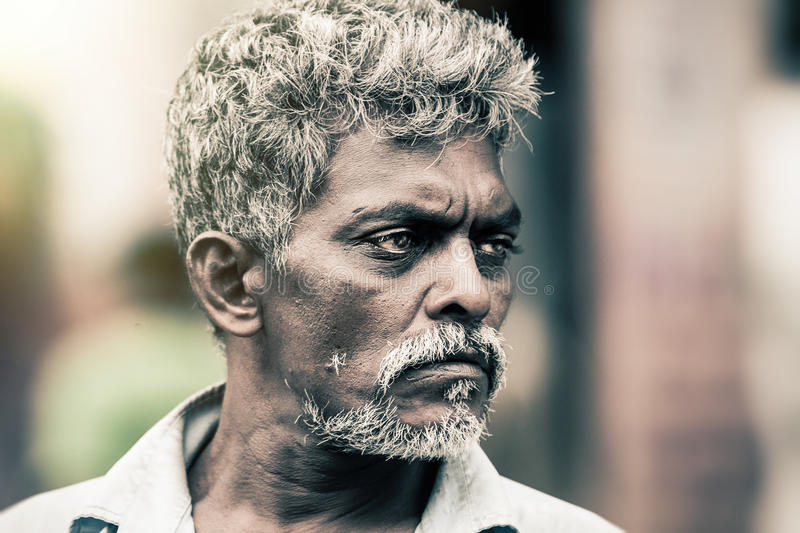 Sri Lankan man style. Tough expression. Horizontal portrait of a man in Sri Lanka. The man has a beard and graying hair, intense eyes, suggestive expression royalty free stock images