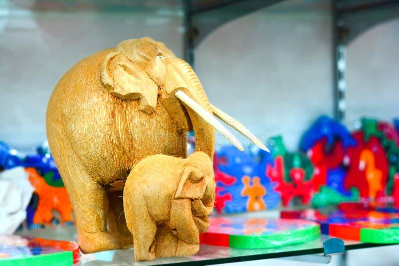 Sri Lankan traditional handicraft goods. Gifts and souvenirs for sale in a shop at Pinnawala elephant orphanage in Rambukkana, Sri Lanka royalty free stock image