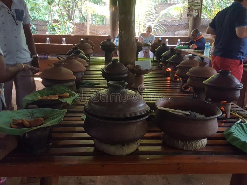 Sri Lankan Traditional Lunch. Srilankan Village type lunch. Arrange the lunch on the Nelum Lefa & it gives a additional taste to the foods royalty free stock photo