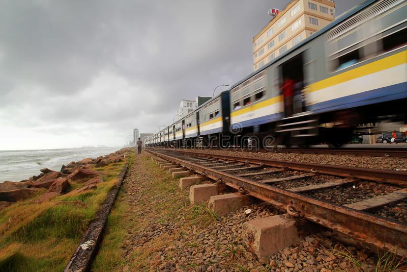 Sri Lankan Train, Colombo. Sri Lankan Train leaving Colombo along the coast royalty free stock photo