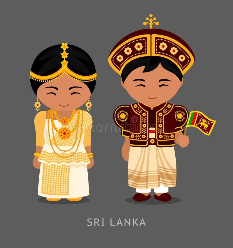 Sri Lankans στο εθνικό φόρεμα με μια σημαία διανυσματική απεικόνιση