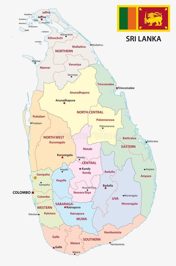 Sri lanki administracyjna mapa ilustracji