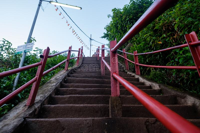 Sri Lnka, Adam`s Peak - April 25 2018: Adam`s Peak staircase at early morning, famous place for religions. Sri Lnka, Adam`s Peak - April 25 2018: Adam`s Peak stock photo