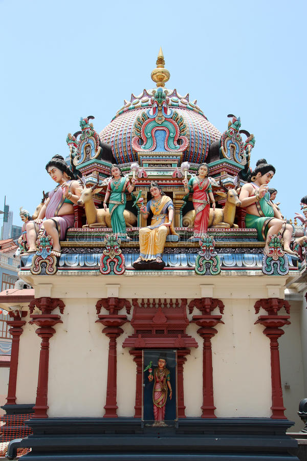 Sri Mariamman寺庙-新加坡 免版税图库摄影