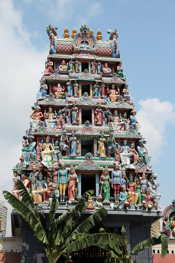 Sri Mariamman tempel - Singapore arkivbilder