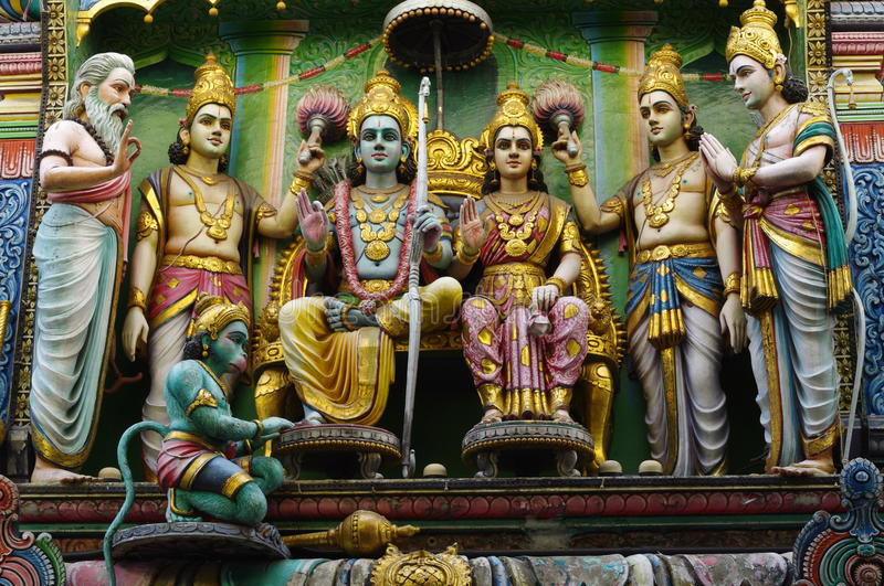 Sri Ram and Sita at Sri Mariamman Temple. In Singapore Chinatown, South east Asia stock image