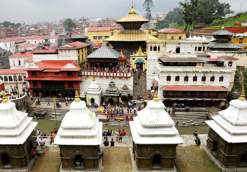 Sri Pashupatinath Temple located on banks of the Bagmati River royalty free stock photo