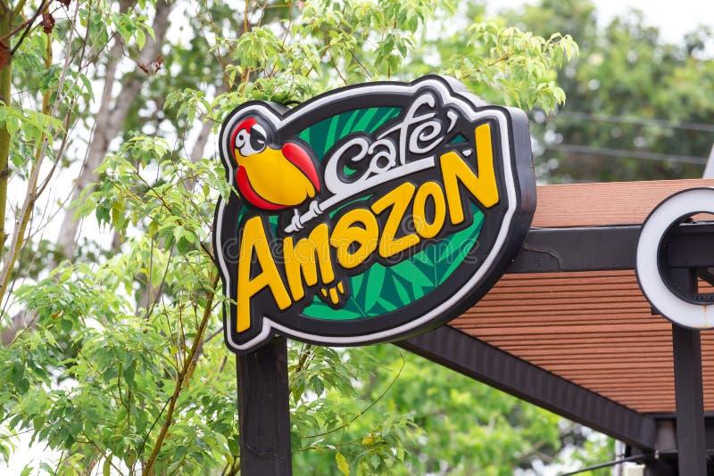 Sri Sa Ket, Tailandia - Augus, 2018: Logo di Amazon del caffè su Augus 13 fotografie stock libere da diritti