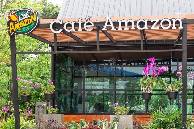 Sri Sa Ket, Tailandia - Augus, 2018: Logotipo del Amazonas del café en Augus 13 imagen de archivo libre de regalías
