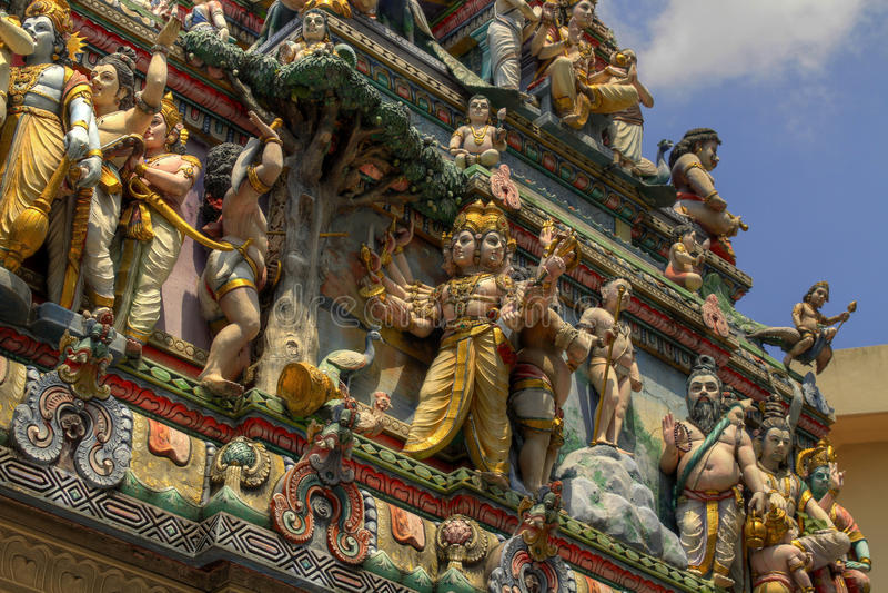 Sri Veeramakaliamman Hindu temple Singapore 2. Sri Veeramakaliamman Hindu temple deities in Serangoon Road Singapore 2 stock images