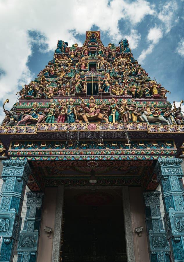 Sri Veeramakaliamman Hindu temple to te godess Kali. Little India, Singapore. Close-up on the Sri Veeramakaliamman  Hindu temple located in the middle of Little stock photos