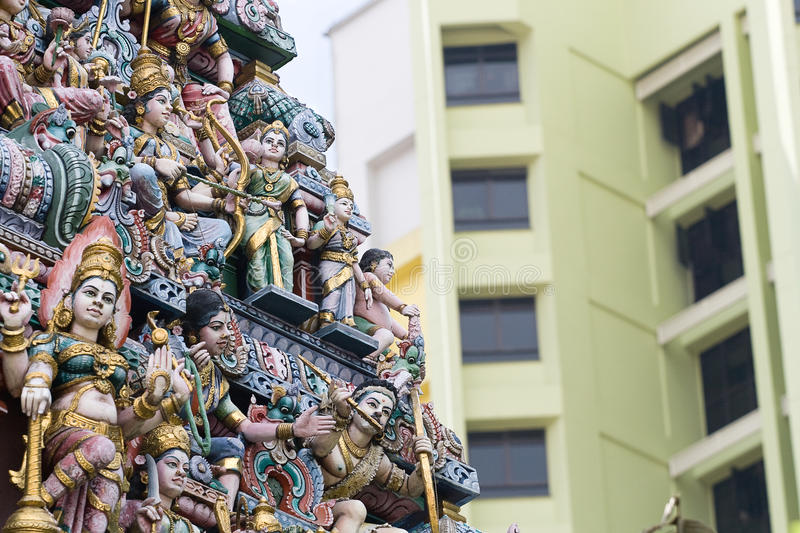Sri Veeramakaliamman Temple in Singapore. Statues of Sri Veeramakaliamman Temple on June 21, 2009 in Singapore. This Hindu temple is located in the middle of royalty free stock images