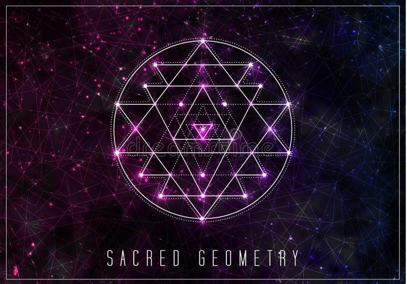 Sri Yantra Elemento sacro di progettazione di vettore della geometria royalty illustrazione gratis