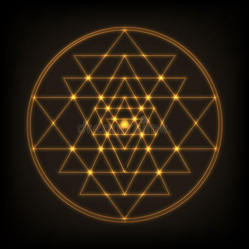 Sri Yantra - símbolo de formado por nueve triángulos que entrelazan que irradian hacia fuera del punto central Geometría sagrada stock de ilustración