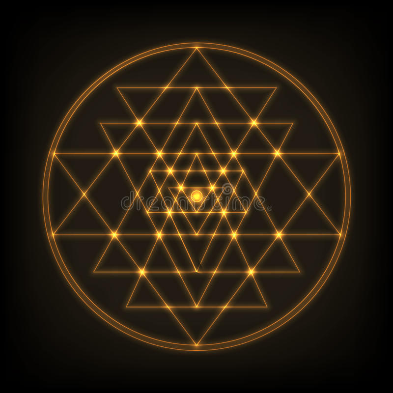 Sri Yantra - symbol of formed by nine interlocking triangles that radiate out from the central point. Sacred geometry. stock illustration