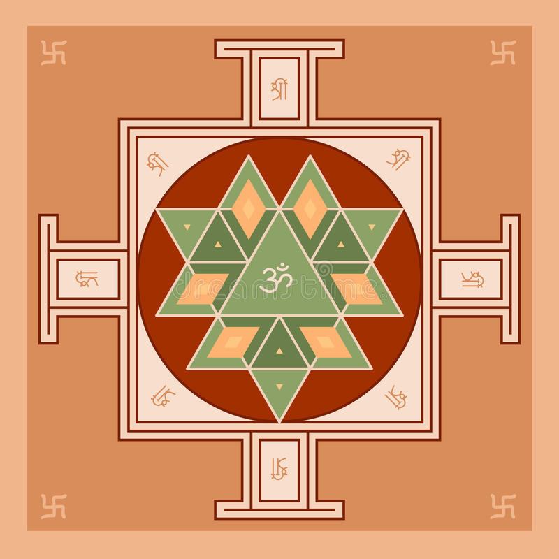 Sri Yantra - symbol of Hindu tantra formed by interlocking triangles that radiate out from the central point. Sacred geometry. vector illustration