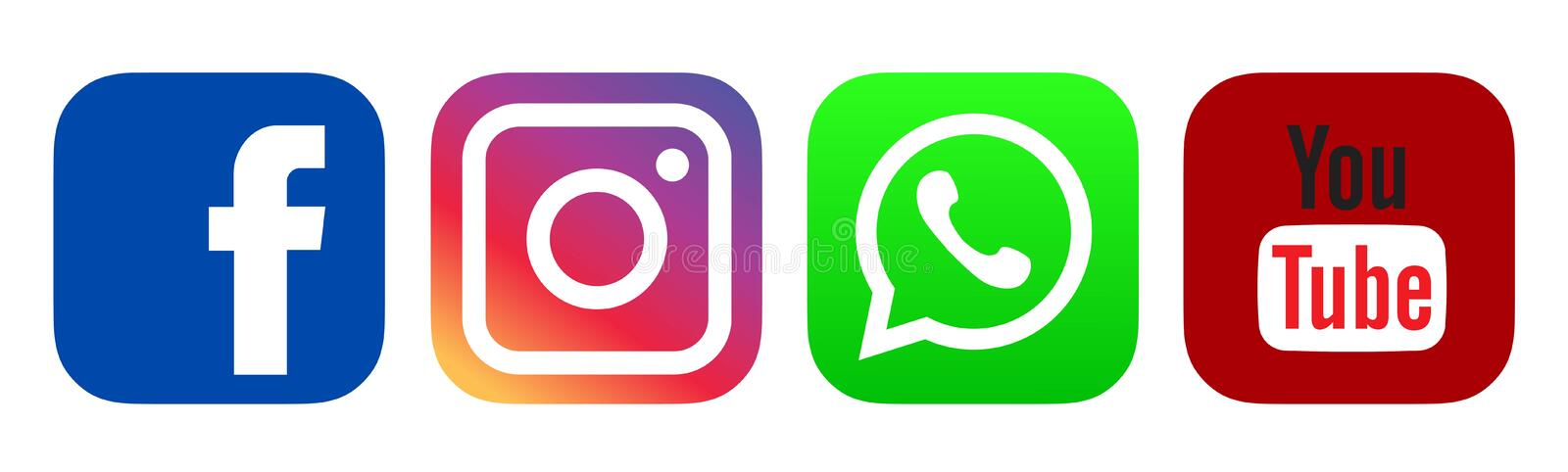 Colored Facebook, Instagram, whatsapp, Youtube logo icon. Srilanka,January.25.2020:Colored Facebook,Instagram,whatsapp,Youtube logo icon on white back ground royalty free illustration