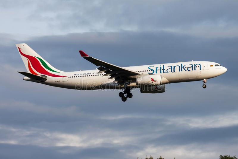 SriLankan Airlines Airbus A330-200 4R-ALB passenger plane landing at Frankfurt Airport stock photography