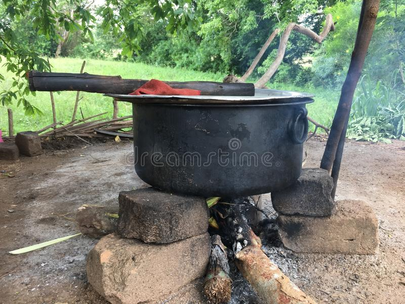 Srilankan cooking. How Village people cook there stuff royalty free stock photo