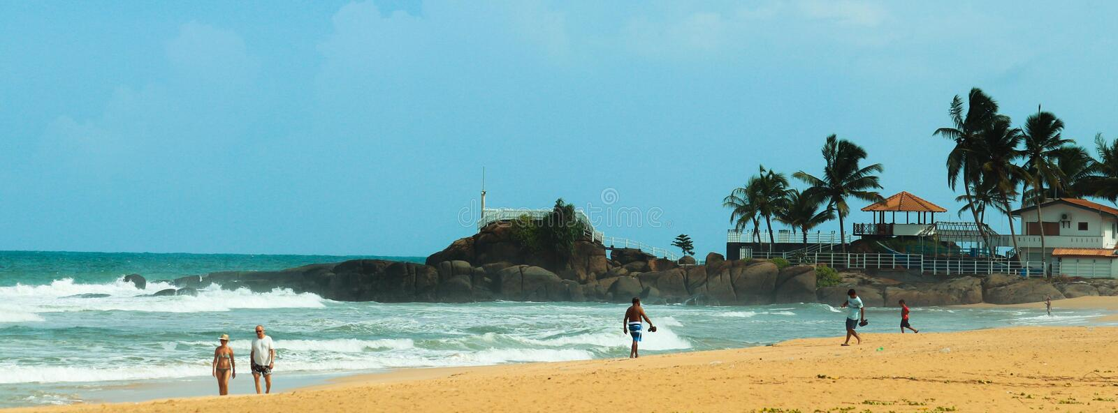 Srilankan Sea Coast. Beauttu of the pearl of the Indian ocean can be seen with this image. This coast near by the premises of REU down south , Sri Lanka royalty free stock image