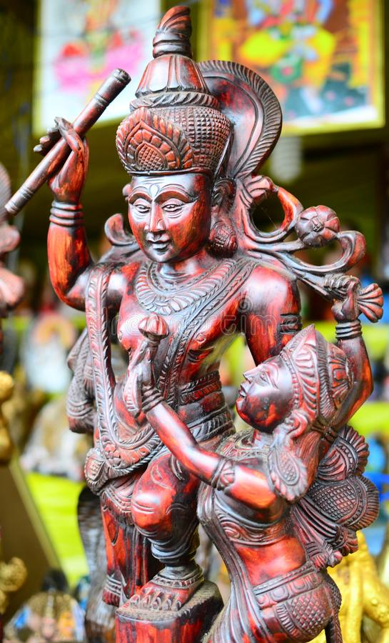 Srilankesiska antika trästatyer royaltyfri bild