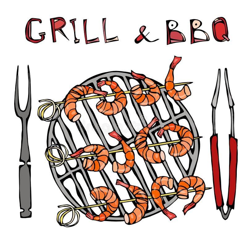 Srimpes-Kebab auf einem BBQ-Grill mit Zangen und Gabel Meeresfrüchte-Grill-Sommerfest Prewen auf hölzernen Bambusaufsteckspindeln stock abbildung