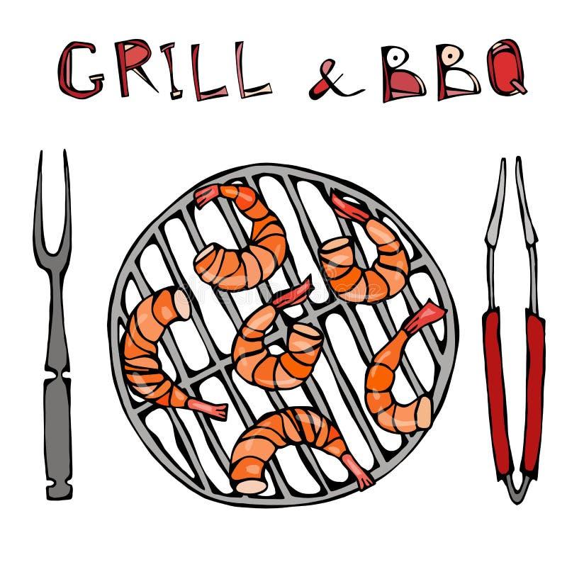 Srimpes-Kebab auf einem BBQ-Grill mit Zangen und Gabel Meeresfrüchte-Grill-Sommerfest Prewen auf Grill Realistische Hand gezeichn lizenzfreie abbildung