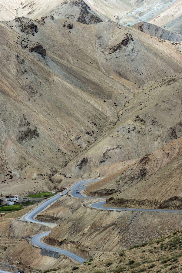 Srinagar Leh rullningsväg, Ladakh, Indien arkivbild