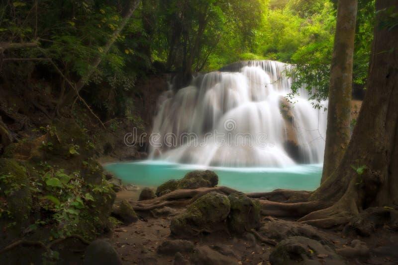Srinakarin för landskapHuai Mae Kamin vattenfall fördämning arkivfoto