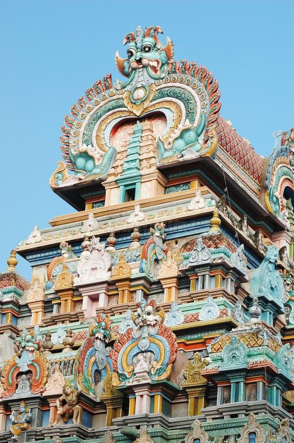 srirangam寺庙tiruchirapalli顶层 库存图片