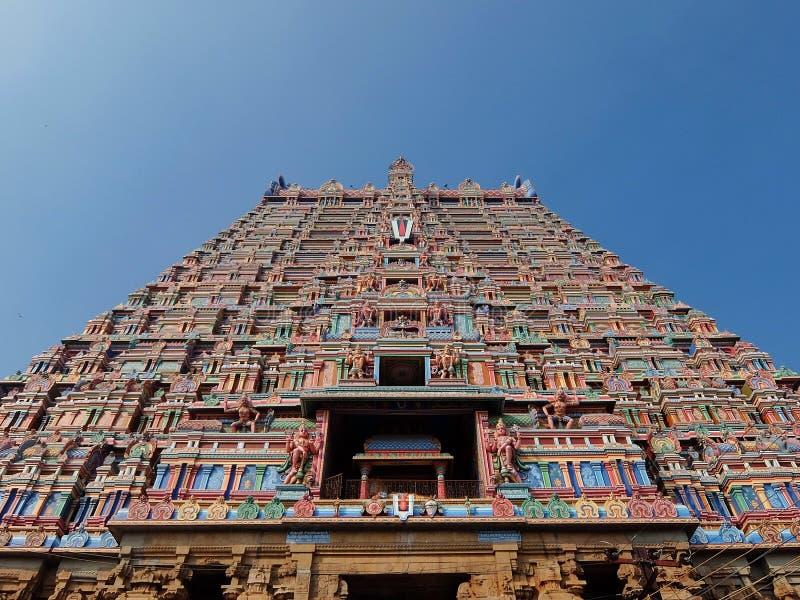 Srirangam Rajagopuram,一个巨大的入口塔,装饰用印度神华丽雕塑  库存照片