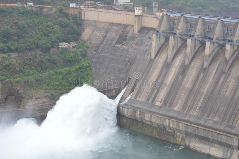 Srisailam水坝,安得拉邦,印度 免版税库存照片