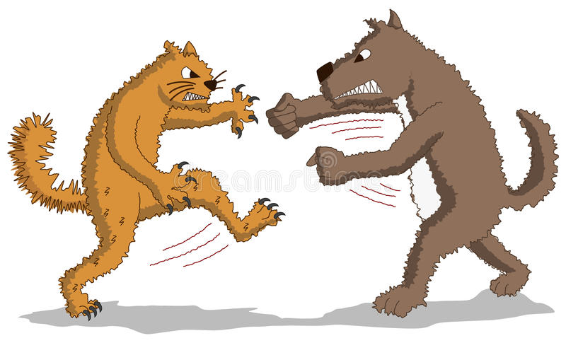 Sroga walka - kot versus pies royalty ilustracja