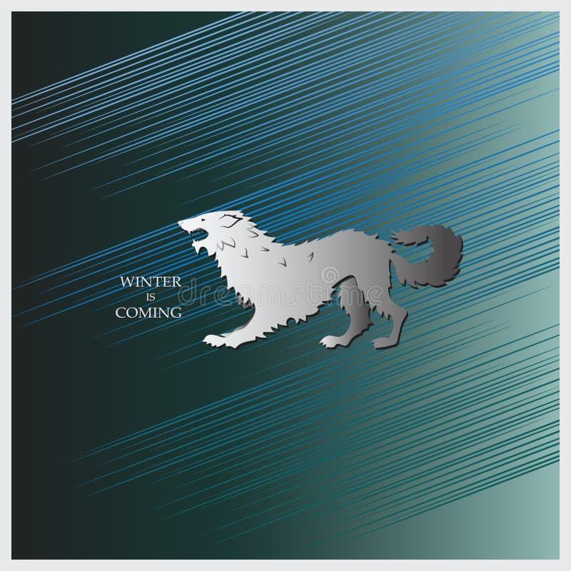 Srogi wilk na zmroku - błękitny tło royalty ilustracja