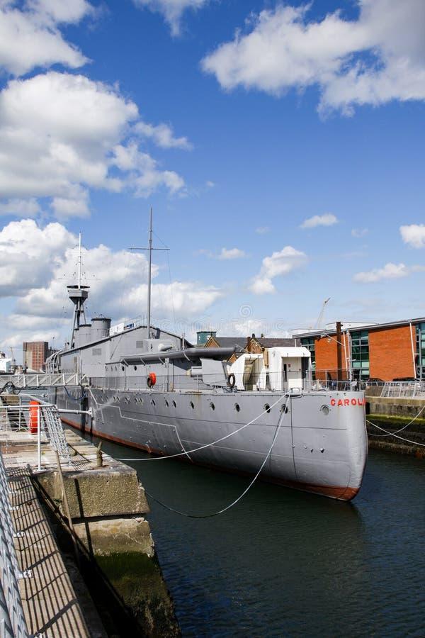Srogo widok HMS Caroline ostatni ocalały bitwa Jutland zdjęcia stock
