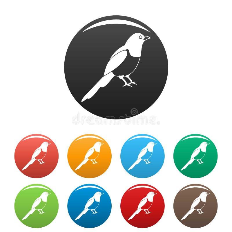 Sroka ptasie ikony ustawiający kolor royalty ilustracja