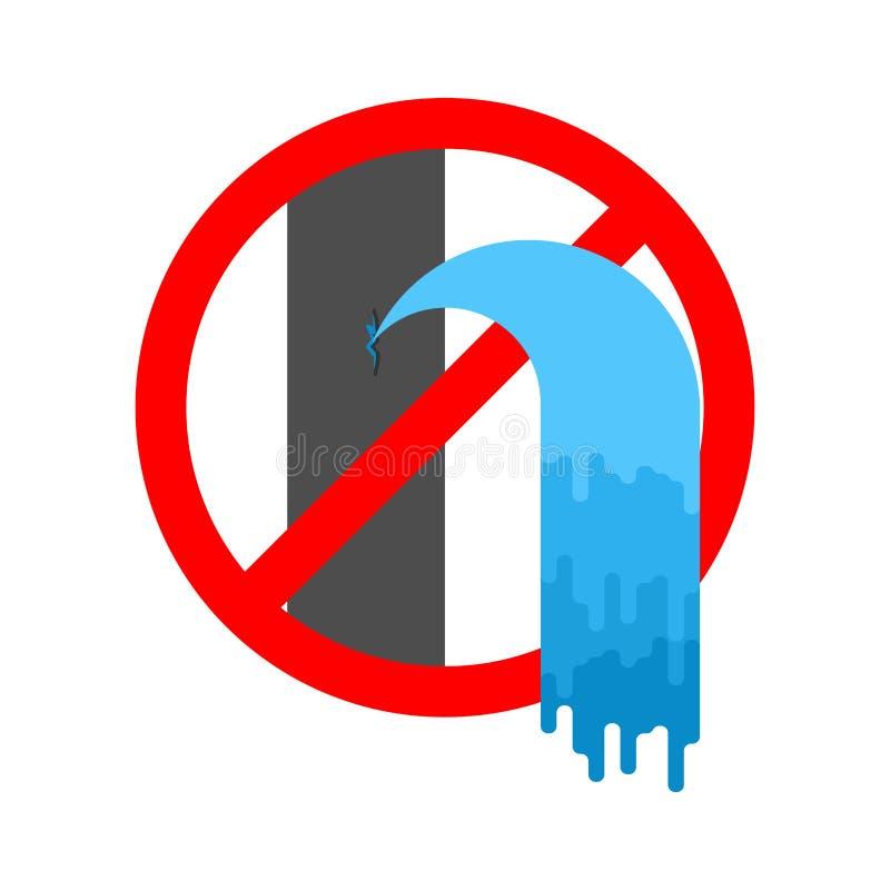 Srop wody przeciek Zakaz kanalizacja jest łamana Czerwony Prohibicyjny znak również zwrócić corel ilustracji wektora royalty ilustracja