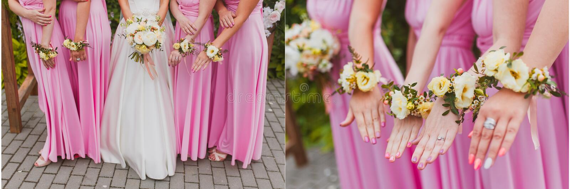 Set bridal wedding flowers. Bridal wedding flowers and brides closeup stock photo