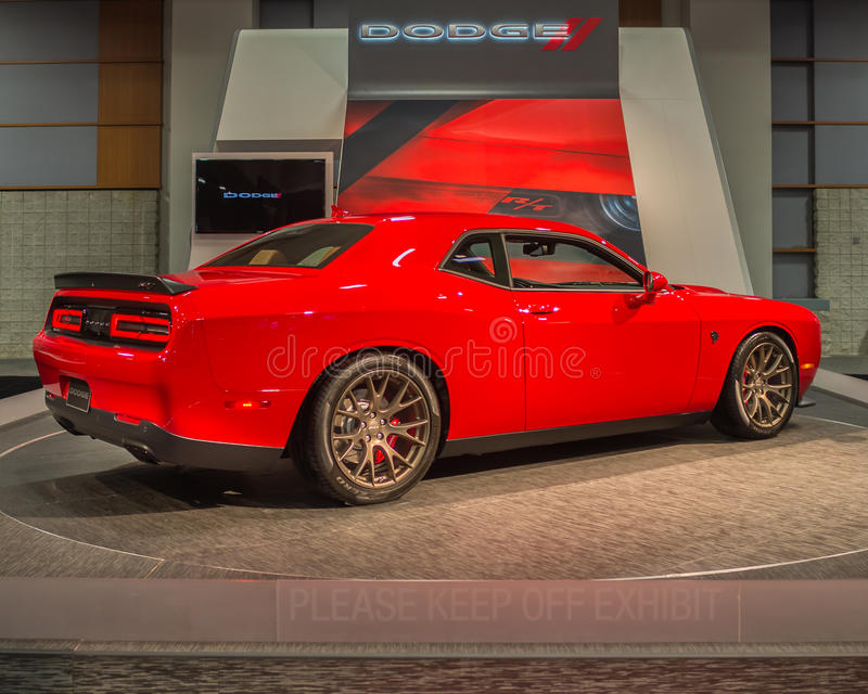 SRT (Dodge) Challenger Hellcat. WASHINGTON, DC - JANUARY 21, 2016: SRT (Dodge) Challenger Hellcat car at the Washington, D.C. Auto Show (WAS), one of the largest royalty free stock images