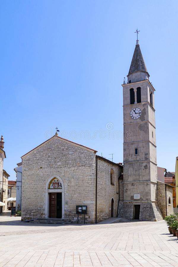 SS科斯马斯和达米扬教会在Fazana,克罗地亚 图库摄影