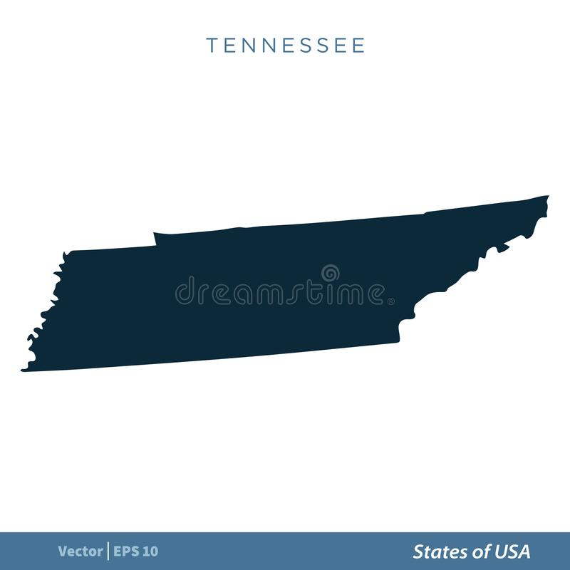 Tennessee - States of US Map Icon Vector Template Illustration Design. Editable Vector EPS 10 stock illustration