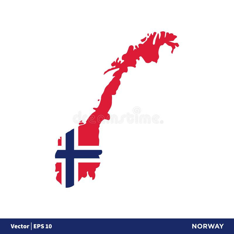 Norway - Europe Countries Map and Flag Vector Icon Template Illustration Design. Vector EPS 10. stock illustration