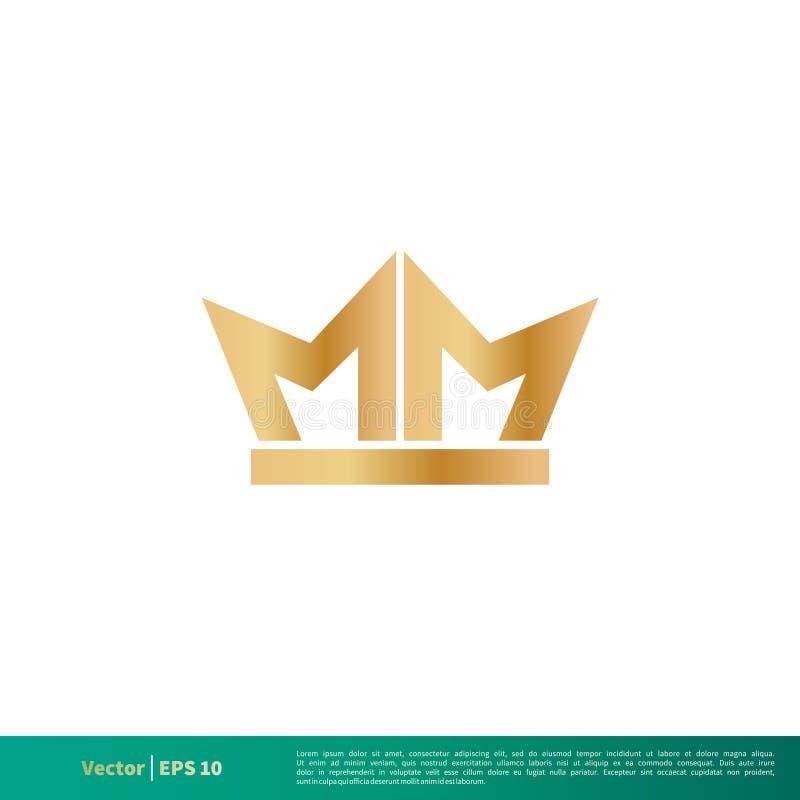 MM Letter Gold Crown Icon Vector Logo Template Illustration Design. Vector EPS 10. royalty free illustration