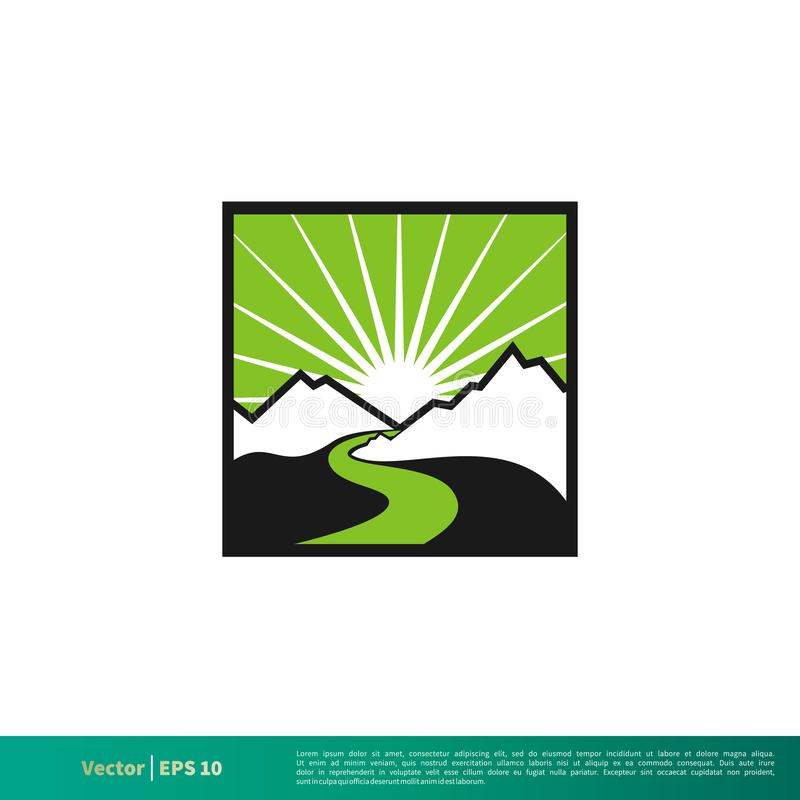 Mountain and River Badge Icon Vector Logo Template Illustration Design. Vector EPS 10. stock illustration