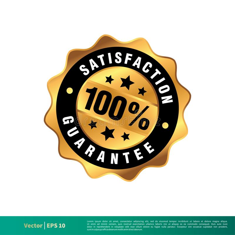 100% Satisfaction Guarantee Seal Banner Vector Template Illustration Design. Vector EPS 10. 100% Satisfaction Guarantee Seal Banner Vector Template Illustration stock illustration