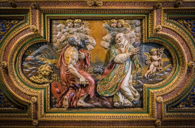 SS Jerome e Philip Neri na igreja do cofre-forte do della Carità de San Girolamo em Roma, Itália fotos de stock