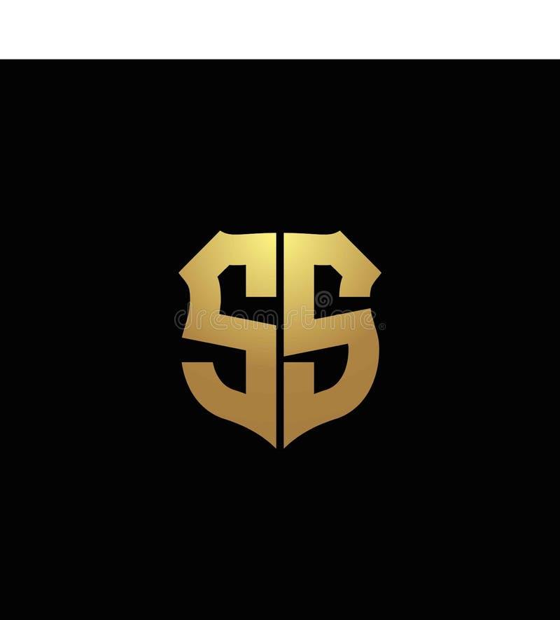 T Initial Shield Vector Logo Design Concept Logo Design And Business Card: Letter S SS Shield Logo Design Simple Vector Stock Vector
