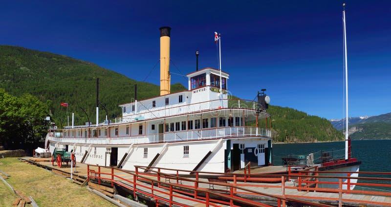 Panorama of SS Moyie National Historic Site in Kaslo, Kootenay Lake, British Columbia stock photos
