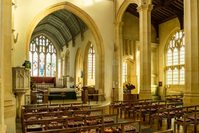 SS Peter and Paul parish church Nave C Northleach England. England, Northleach - October 21, 2016: SS Peter and Paul parish church Nave C royalty free stock photos